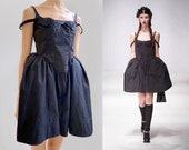 Black taffeta corset gothic bustle spaghetti strap Crinoline Panniers Pouf Skirt rockabilly tutu ballet lbd crease deconstructed prom ghost