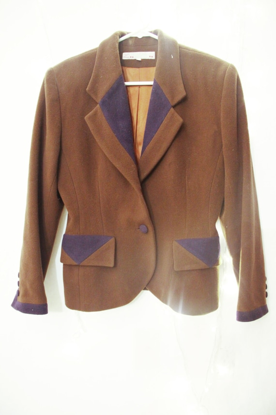 Brown  Wool Coat Flannel wasp waist suit peter pa… - image 2