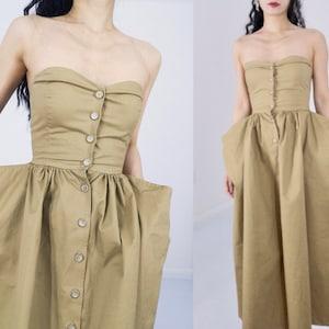 cotton khaki Panniers dress off shoulder tube top button up bustier princess avant garde deconstructed tu tu rockabilly swing ball gown
