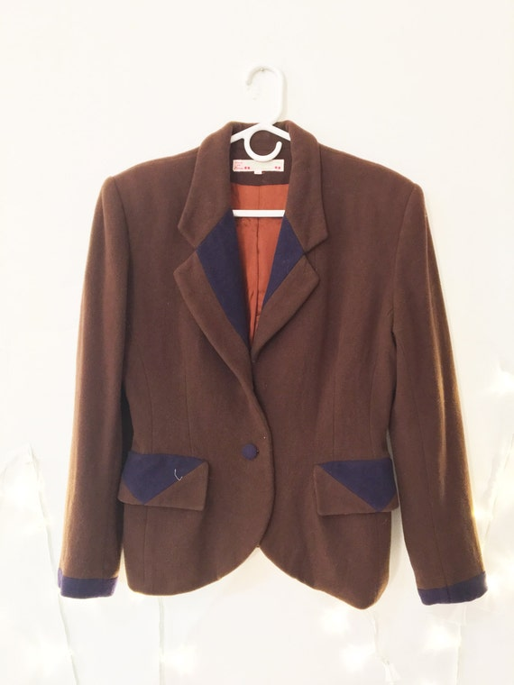 Brown  Wool Coat Flannel wasp waist suit peter pa… - image 3