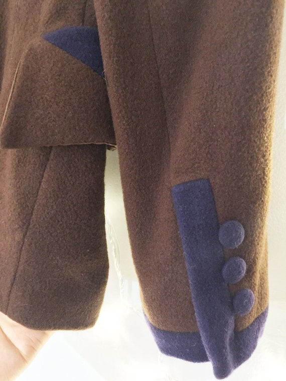 Brown  Wool Coat Flannel wasp waist suit peter pa… - image 5