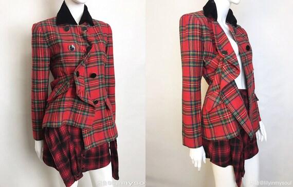 sold Vintage 1980's Tartan Plaid Suit Blazer Red G