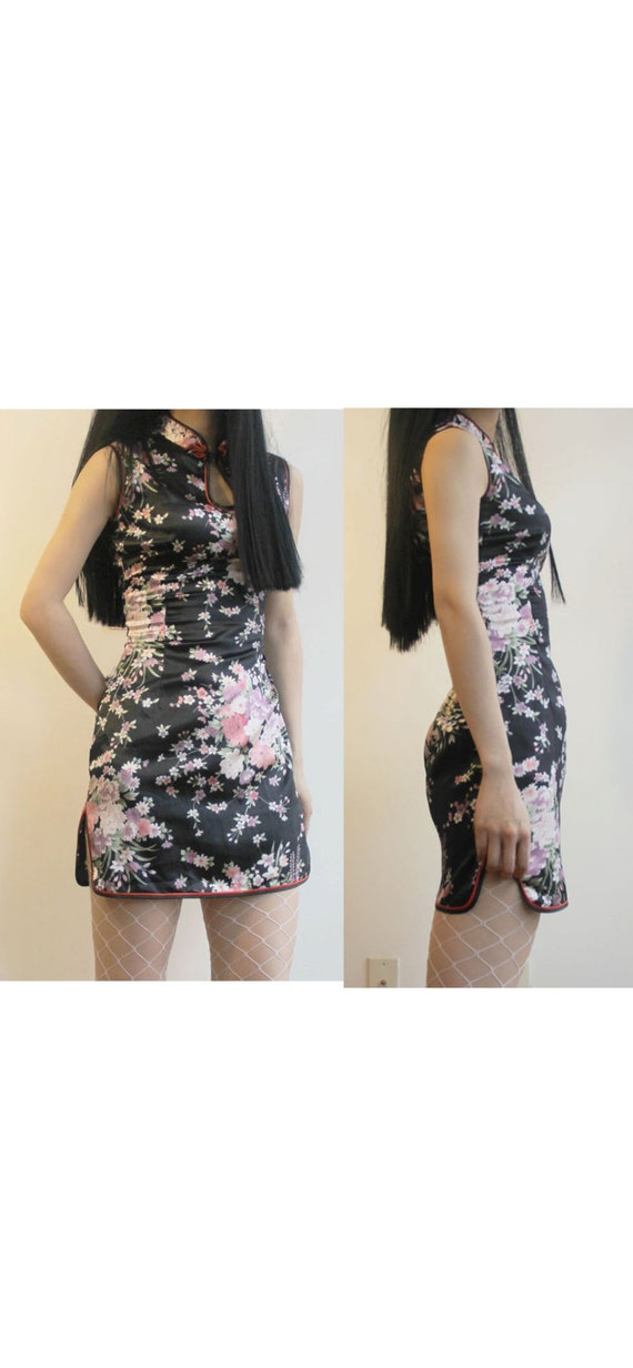 Chinese Asian Oriental floral black silk satin che