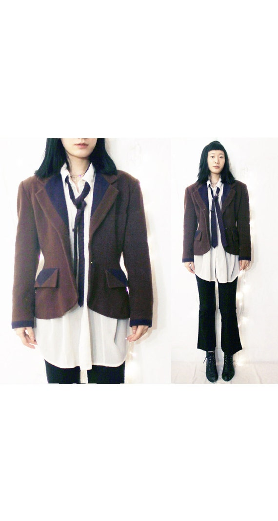 Brown  Wool Coat Flannel wasp waist suit peter pa… - image 1