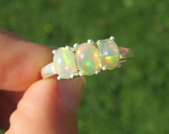 Ethiopian Opal Ring Sterling Silver Size 8 - Multi Stone Crystal Ring - Rainbow Opal Stone Ring - Opal Jewelry - October Birthstone Gift