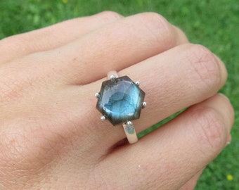 Blue Labradorite Ring Sterling Silver Size 8 - Flashy Labradorite Stone Ring - Blue Crystal Ring - Labradorite Jewelry - Hexagon Ring