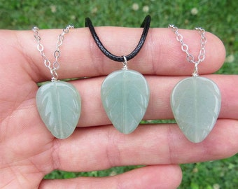 Aventurine Crystal Leaf Necklace Sterling Silver - Green Aventurine Stone Necklace - Plant Gift - Vegan Necklace - Vegan Gift- Plant Jewelry