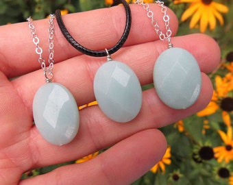 Amazonite Crystal Necklace Sterling Silver - Amazonite Stone Necklace - Blue Crystal Necklace - Amazonite Jewelry -
