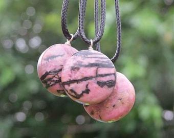 Rhodonite Crystal Necklace - Pink Black Matrix Rhodonite Stone Necklace - Black Cord Necklace - Rhodonite Jewelry - Heart Chakra Love Stone