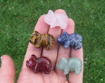 """Mini Crystal Pig Figurine  1"""" - Carved Stone Animal Carving - Pig Gift - Stone Pig Crystal Animal - Pig Decor"""
