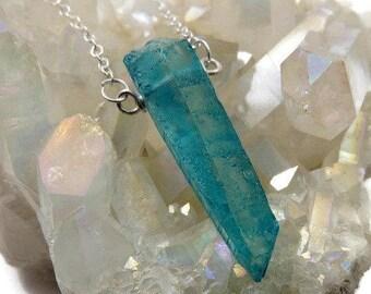 Ice Blue Quartz Necklace- Quartz Point Necklace- Simple Stone Necklace- Blue Crystal Necklace Sterling Silver- Crystal Point Necklace