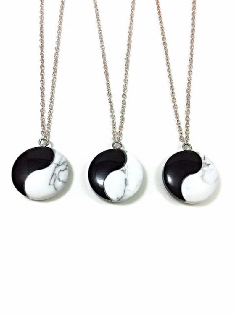 Yin Yang Pendant Spiritual Crystal Necklace Yin Yang Necklace Black White Stone Necklace- Balance Necklace- Zen Yoga Necklace