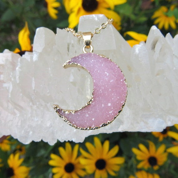 Pink Crystal Crescent Moon Necklace   Faux Resin Druzy Moon Crystal Necklace Gold  Pink Moon Pendant  Celestial Necklace  Half Moon Jewelry by Etsy