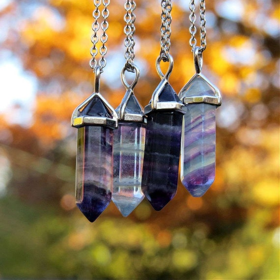 Fluorite Crystal Point Necklace      NCK-0294