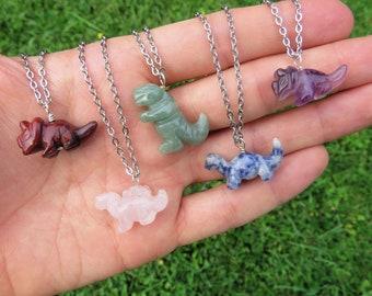 Crystal Dinosaur Necklace - Carved Stone Dinosaur Crystal Necklace - Dinosaur Jewelry - T Rex Necklace - Jurassic Animal - Dinosaur Gift