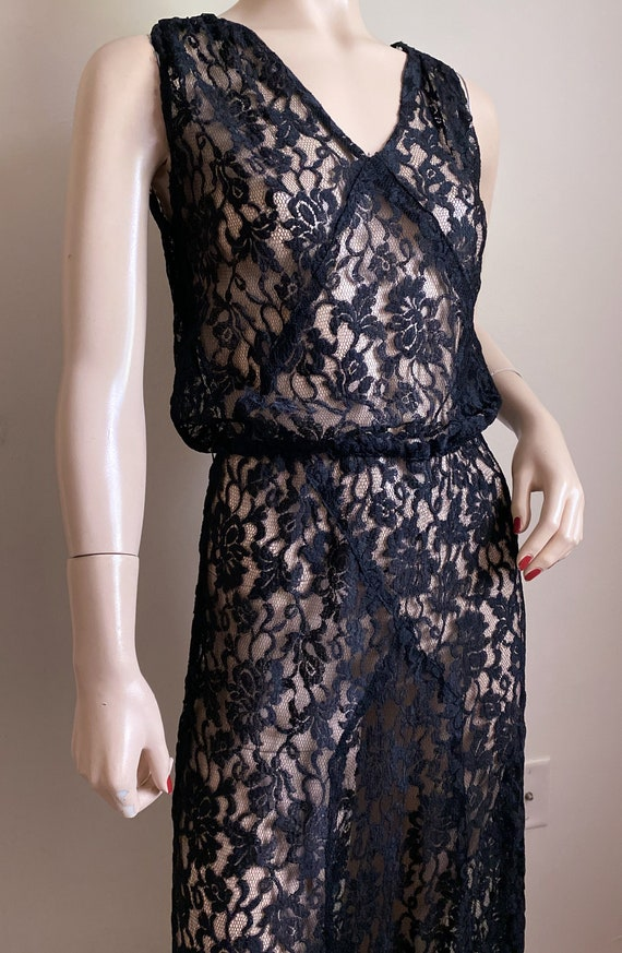 Vintage 30's Black lace bias dress gown