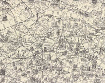 Paris Map Parchment - PASSPORT  by 3 Sisters for Moda Fabrics - Grey - 3736-26