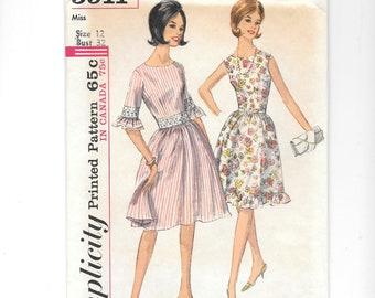 Vintage Sewing Pattern, Simplicity 5911, Misses' One-Piece Dress, 1960 Fashion, Sleeveless Dress Pattern, Size 12, Summer Dress, UNCUT