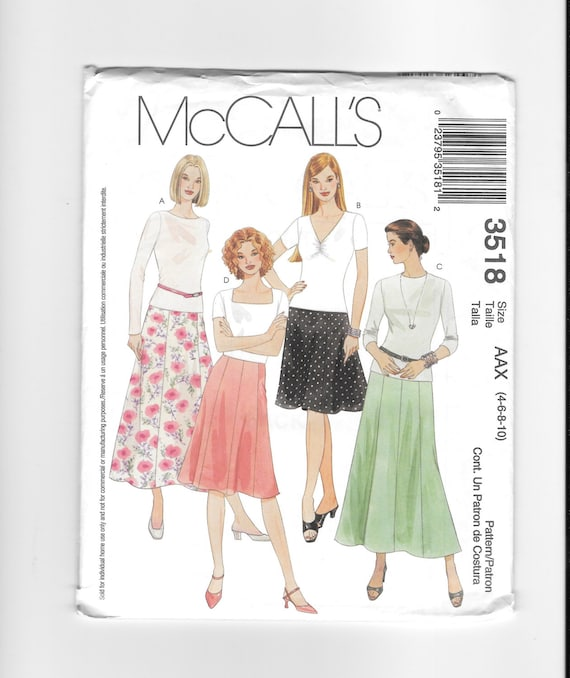 McCall\'s 3518 Pattern Misses\' Skirts in Two Lengths | Etsy