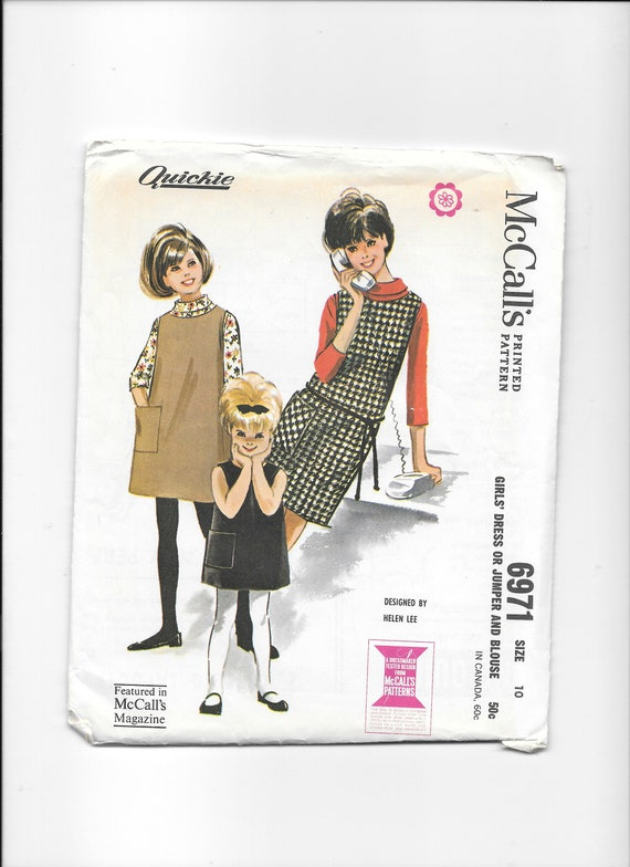 Size 10 1960s McCall/'s Pattern Girl/'s Dress or Jumper and Blouse Uncut Sewing Pattern New Pattern by Helen Lee McCall/'s 6971