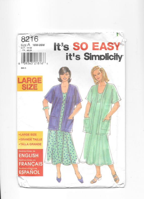 Simplicity 8216 Women\'s Jacket and Dress Sleeveless | Etsy