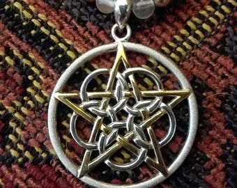 """18"""" Pentacle Necklace - .925 Sterling Silver and Gold Vermeil - Pearls and Rose Quartz"""