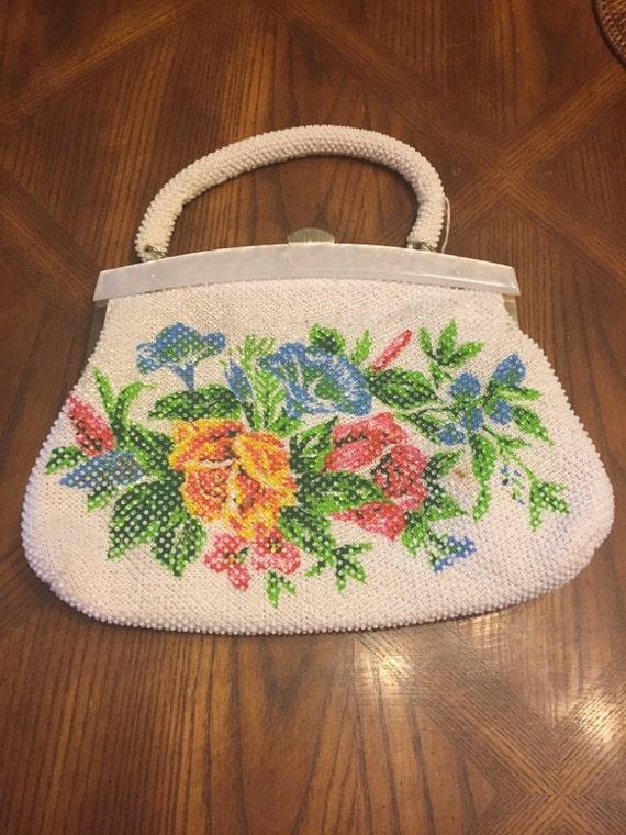 Beautiful 1950's White and Clear Beaded Handbag wi