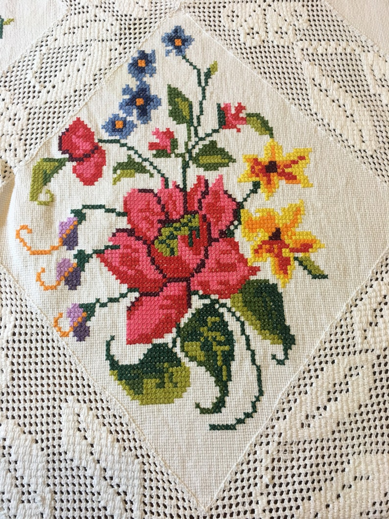 Unusual Large Embroidered Cross-Stitched Tablecloth