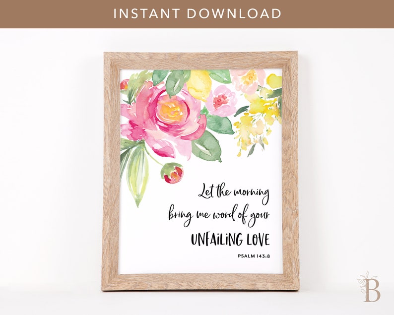 Uplifting bible verse wall art  Scripture printable Spring image 0