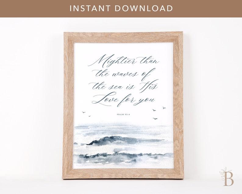 Scripture printable  Ocean art printable Bible verse art image 0