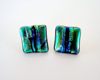 Dichroic Glass Green and Blue Textured Earrings Stripes of Textured Blues and Greens Dichroic Fused Glass Stud Earrings Unique Post Earrings