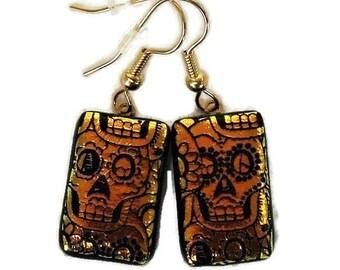 Dichroic Glass Orange Sugar Skull Dangle Earrings