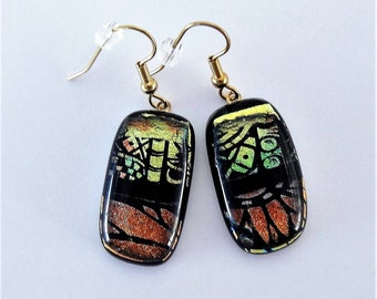 Dichroic Glass Bronze and Yellow Green Etched Design Dangle Earrings Clear Topper Glass Over Etched Design Dichroic Fused Glass Wires