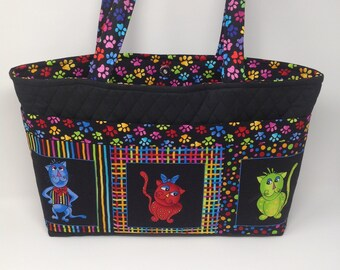 Cat theme Tote Bag 6 Pocket