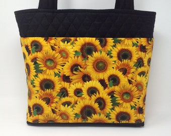 Sunflowers and Lady Bugs Fabric Handbag with lots of Pockets