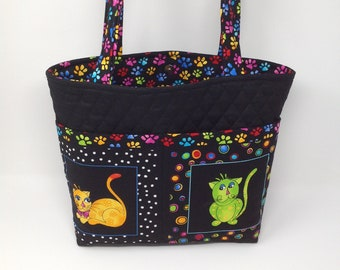 Cat theme Fabric quilted tote bag