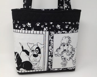 Dog Theme Quilted Purse in Black & White