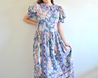 50% OFF EVERYTHING 60's / 70's Vintage Floral Collared Poofy Sleeve Long Dress, Blue and Pink Floral Dress, Ditsy Floral Dress, Tea Dress