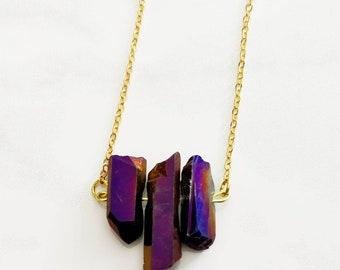 Purple Crystal Necklace - Purple Crystal Bar Necklace - Healing Crystal Necklace - Boho Chic Necklace - Crystal Necklace - Purple Crystal