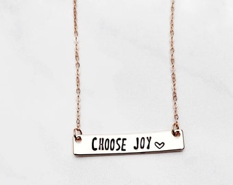 Choose Joy Necklace - Inspirational Necklace - Rose Gold Bar Necklace - Custom Stamped Bar Necklace - Personalized Bar Necklace - Rose Gold