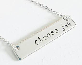 Choose Joy Necklace - Stamped Necklace - Custom Made Jewelry - Inspirational Necklace - Silver Bar Necklace - Joy Jewelry