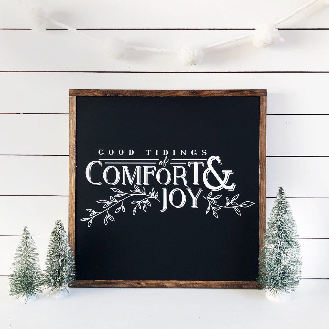 Good Tidings Of Comfort And Joy Sign Rustic Christmas Sign