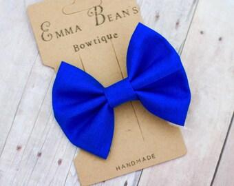 "GLITTER HAIR BOW  HAIR CLIP BABY Girl Blue GLITTER BOW Sparkling bow 3.25/"""