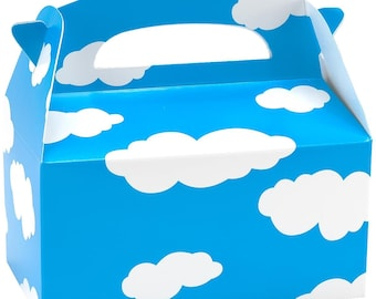 8 PC Clouds Cloud Favor Treat goody gable boxes Airplane cupcakes boxes Birthday party balloons