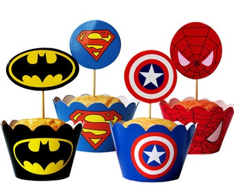 graphic regarding Free Printable Cupcake Wrappers and Toppers With Spiderman identify Cupcake wrappers Etsy