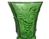 Anchor Hocking, Green Glass Pedestal Grape Pattern Flower Vase, Decor