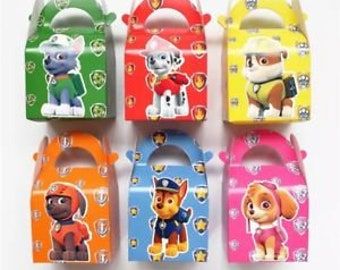 8 PC Paw Patrol Theme Party Favor boxes Treat goody gable dog boxes Bags cupcakes boxes Birthday party balloons