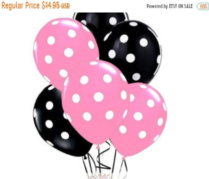 ON SALE 30 Black and Pink polka dots balloons Minnie Mouse Qualatex 11  latex Balloon kids birthday party decor supplies