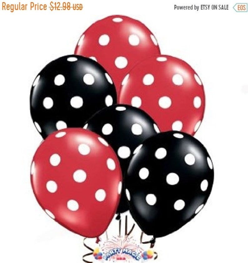 Black and Pink White Polka Dot Latex Balloons Minnie Mouse Party Supply Decor