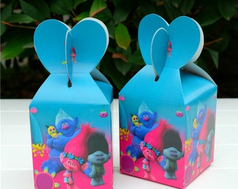 12 PC Troll Theme Party Favor boxes Treat goody gable boxes Bags cupcakes boxes Birthday party balloons
